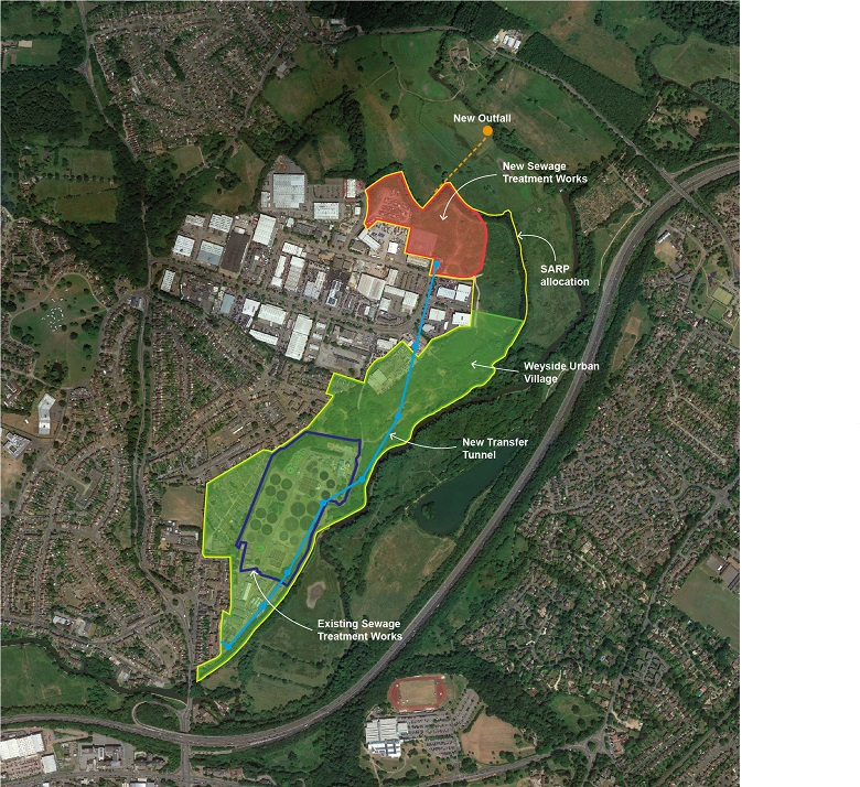 A map showing the planned site of new housing, the location of the new treatment works and the existing layout of the site.