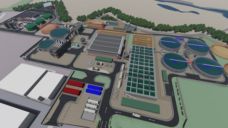 An aerial view diagram of Guildford Sewage Treatment Works