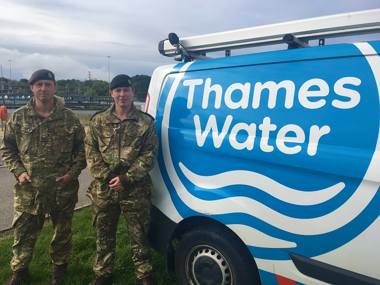 Lt Col Sam Cooke and Captain Aaron Thompson at Swindon sewage works