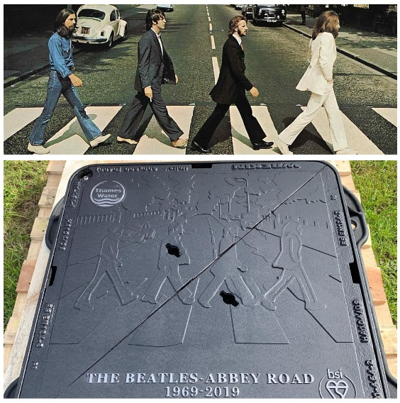 The Abbey Road album cover next to the new manhole cover