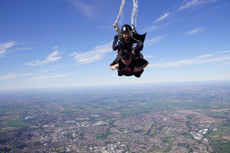 Nicola Eyre during the skydive