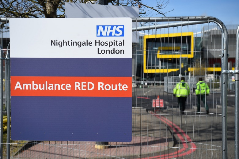 A sign for the NHS Nightingale Hospital in London