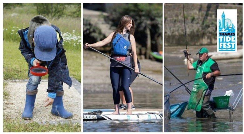 Visitors enjoying paddleboarding, angling and the wildlife at Tidefest