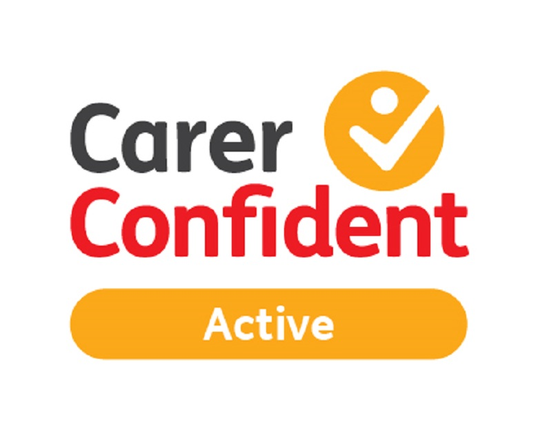 A red and yellow logo saying carer confident active