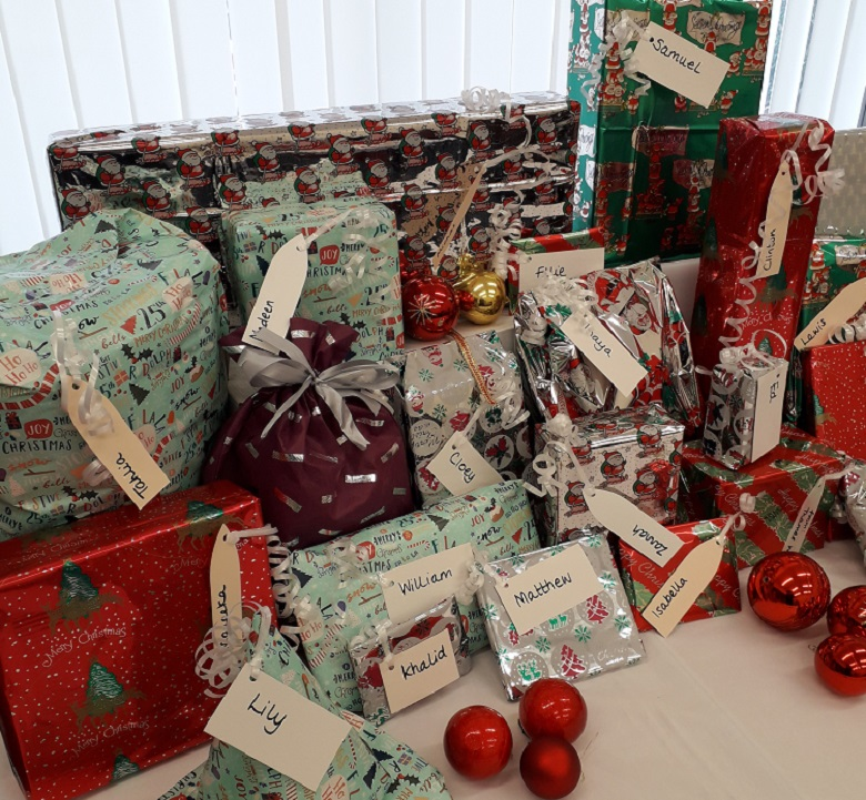 Some of the Christmas presents bought by Thames Water staff for disadvantaged children