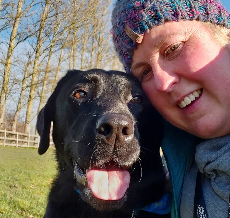 Kirsty Halford with former guide dog Victoria
