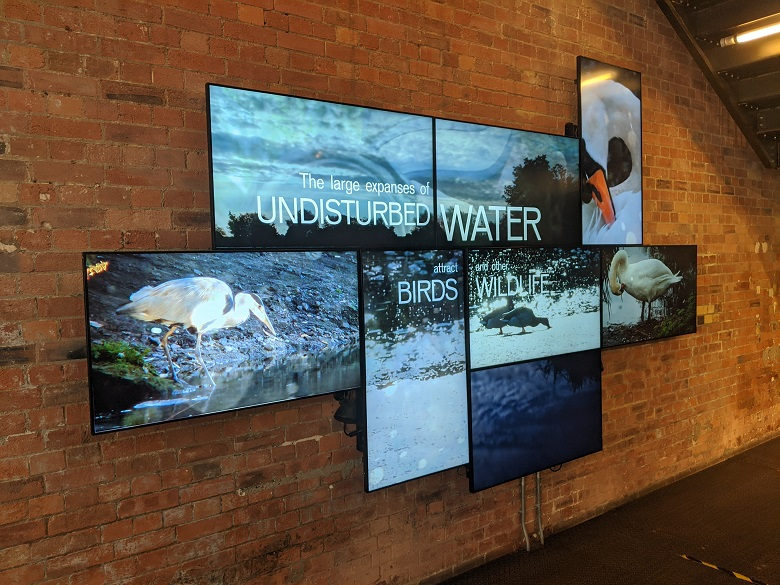 television screens at walthamstow wetlands visitor centre