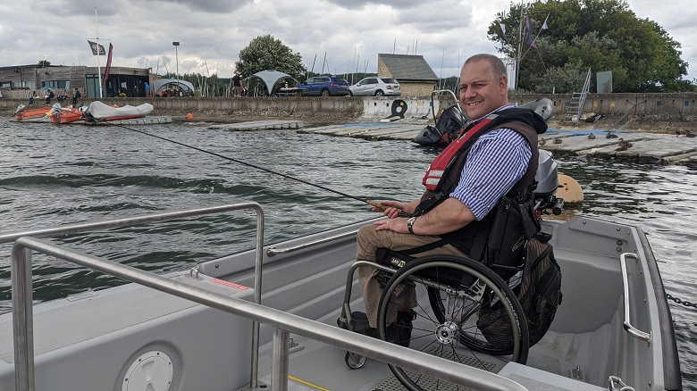 Wheelyboat Trust director Andy Beadsley at Farmoor Reservoir
