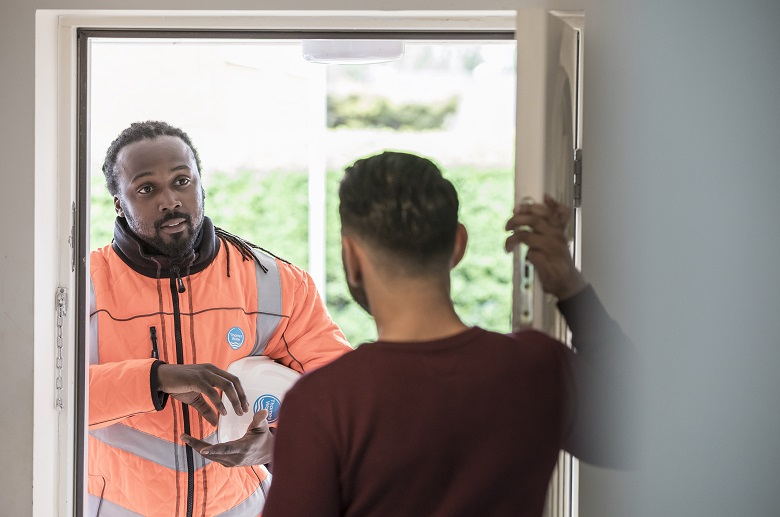 Thames Water representative at customer's house