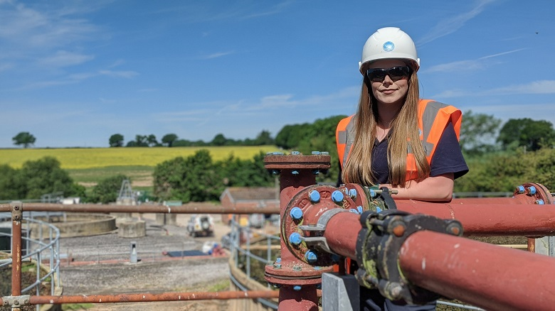 Female engineer Rachael Trigg at Chieveley Sewage Works