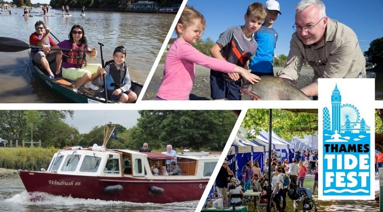 Four photos celebrating thames tidefest, including a boat, 3 people in a kayak and anglers