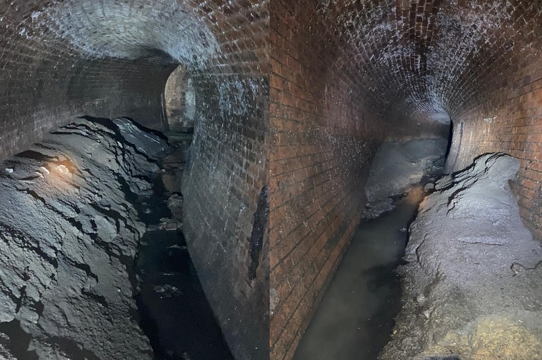 Two underground pictures of grey fatbergs in a brick sewer