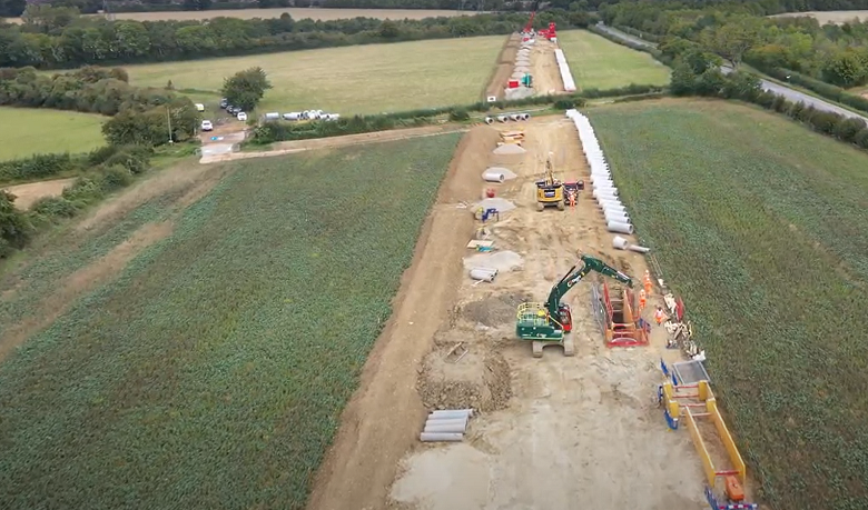 Aerial view of new sewer pipeline at Chesterton Farm