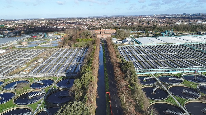 An aerial view of Mogden sewage works today