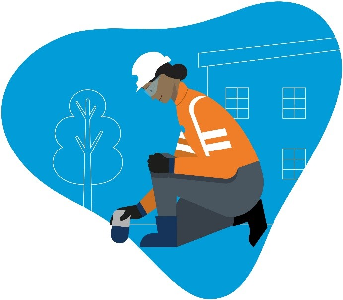 Illustration of a Thames Water engineer kneeling to look at a water meter