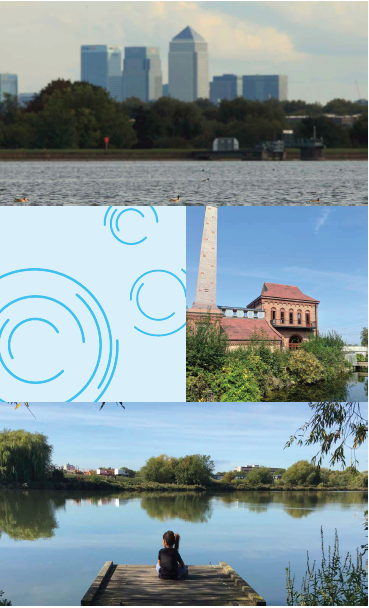 A montage showing the lake with buildings in the distance, a view of the lake and trees, an old building with a chimney and a person looking at the lake.