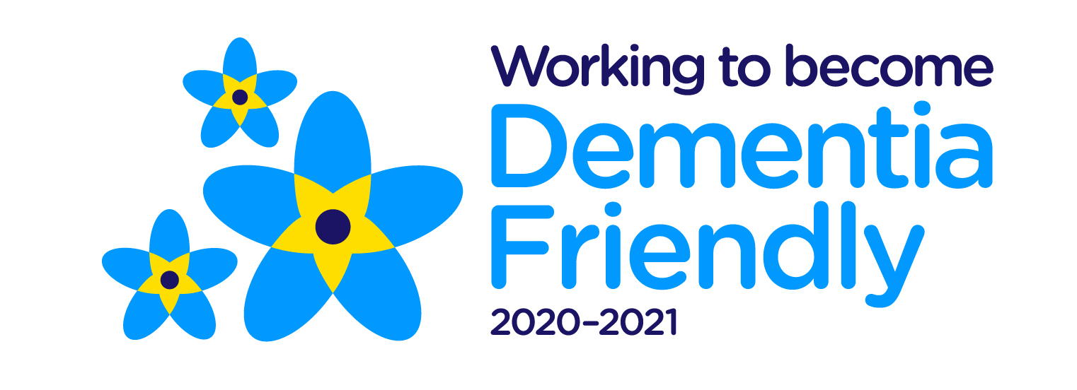 A logo showing we are working to become Dementia Friendly during 2020 and 2021