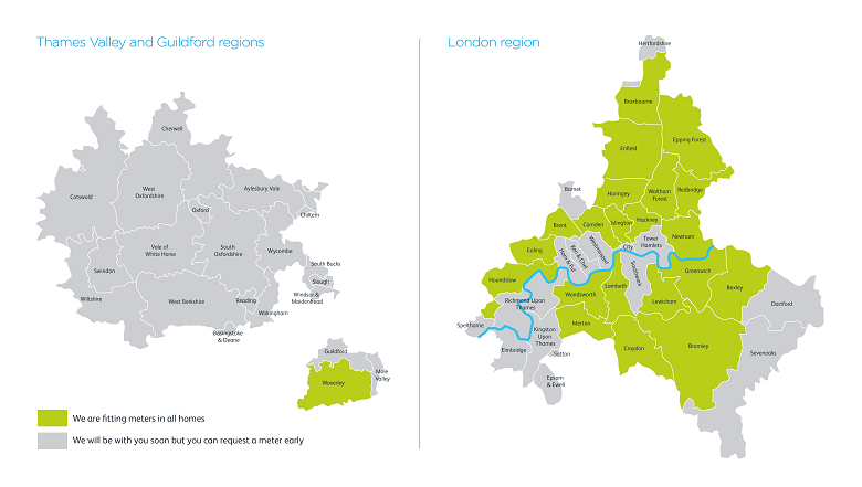 Thames Water smart meter rollout map