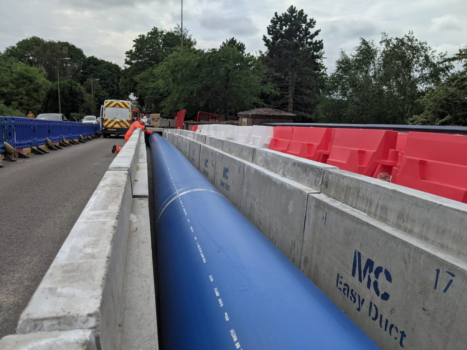 This image shows the new pipe which will bypass the damaged section